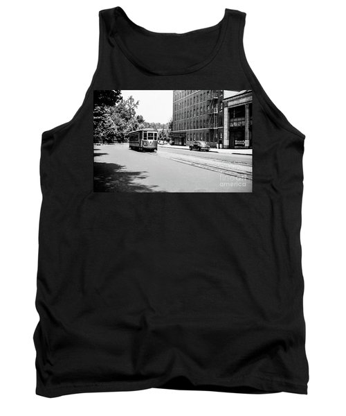 Tank Top featuring the photograph Trolley With Packard Building  by Cole Thompson