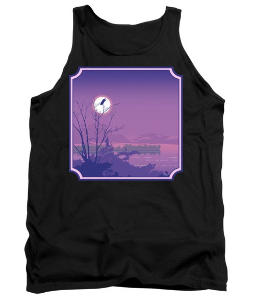 Tropical Birds Sunset Purple Abstract - Square Format Tank Top