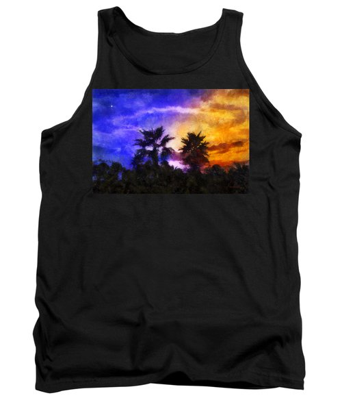 Tank Top featuring the digital art Tropical Night Fall by Francesa Miller