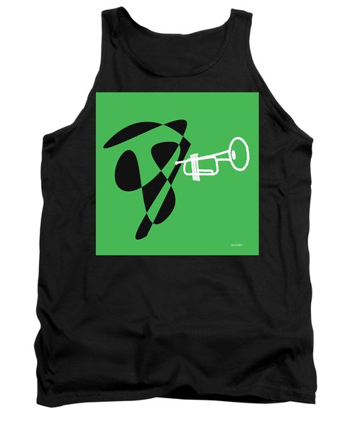 Tank Top featuring the digital art Trumpet In Green by Jazz DaBri