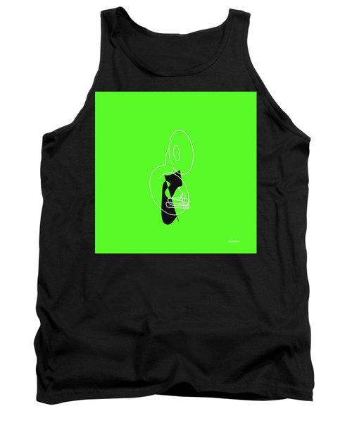 Tank Top featuring the digital art Tuba In Green by Jazz DaBri