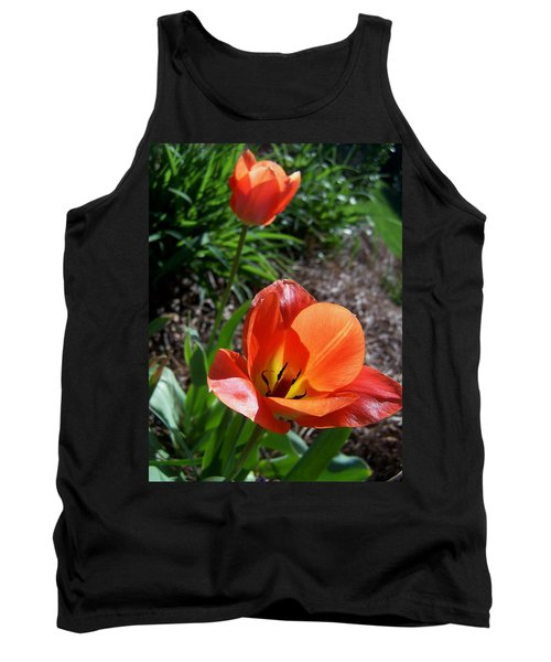 Tank Top featuring the photograph Tulips Wearing Orange by Sandi OReilly
