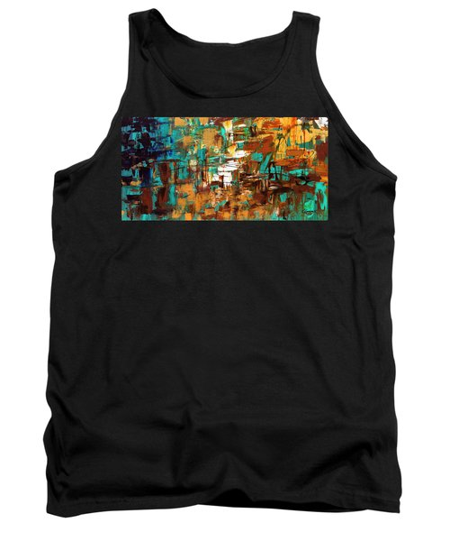 Tank Top featuring the painting Turquoise Scent by Carmen Guedez