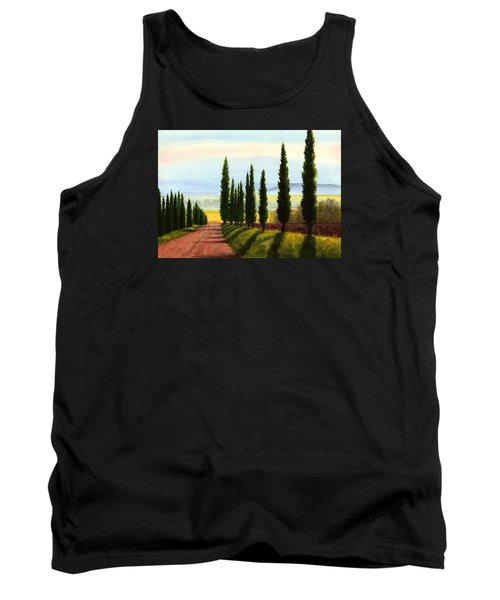 Tuscany Cypress Trees Tank Top by Janet King