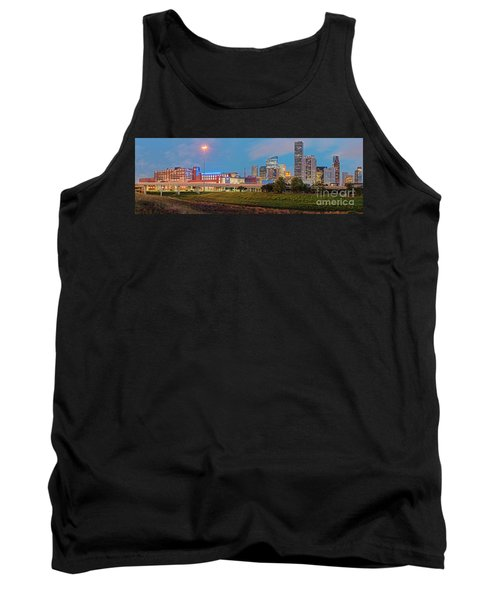 Twilight Panorama Of Downtown Houston Skyline And University Of Houston - Harris County Texas Tank Top