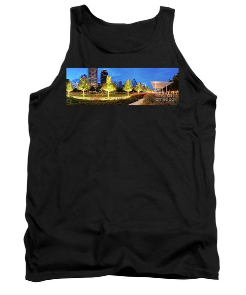 Twilight Panorama Of Klyde Warren Park And Downtown Dallas Skyline - North Texas Tank Top