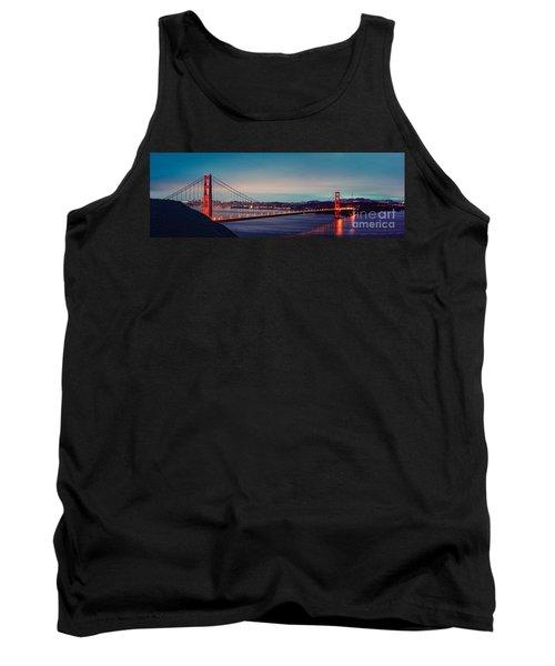 Twilight Panorama Of The Golden Gate Bridge From The Marin Headlands - San Francisco California Tank Top