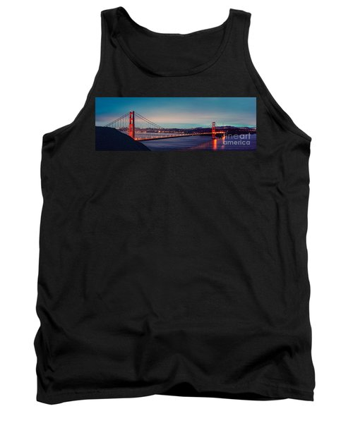Twilight Panorama Of The Golden Gate Bridge From The Marin Headlands - San Francisco California Tank Top