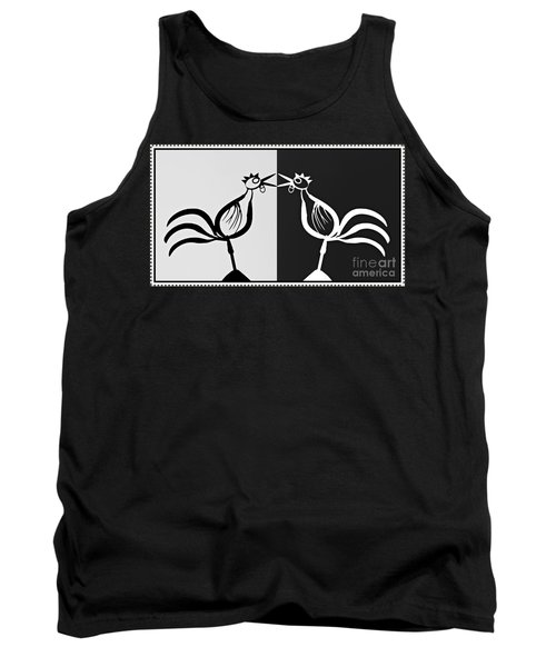 Two Crowing Roosters 3 Tank Top by Sarah Loft