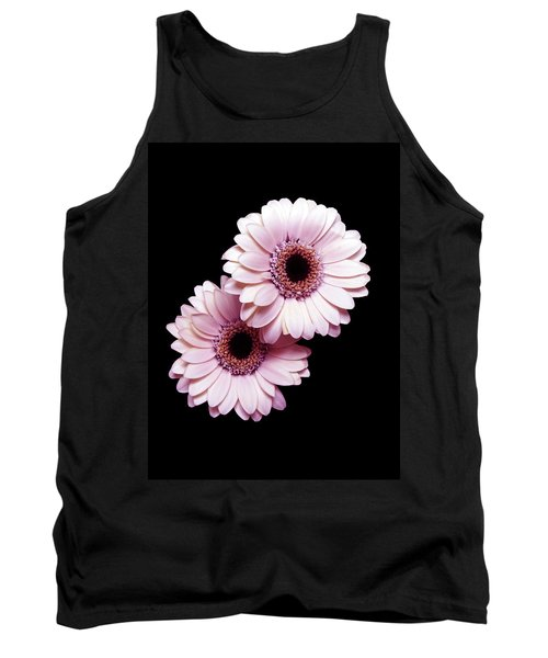 Two Gerberas On Black Tank Top