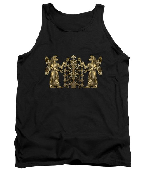 Two Instances Of Gold God Ninurta With Tree Of Life Over Black Canvas Tank Top