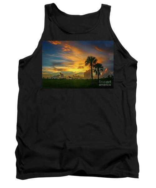 Two Palm Silhouette Sunrise Tank Top