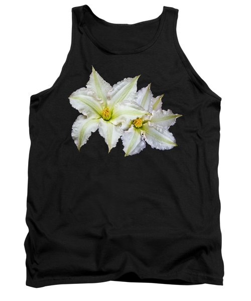 Tank Top featuring the photograph Two White Clematis Flowers On Black by Jane McIlroy