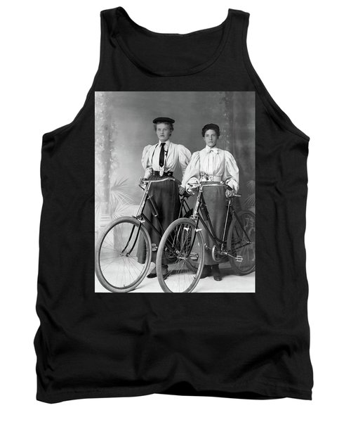 Two Young Ladies With Their Bicycles Circa 1895 Tank Top