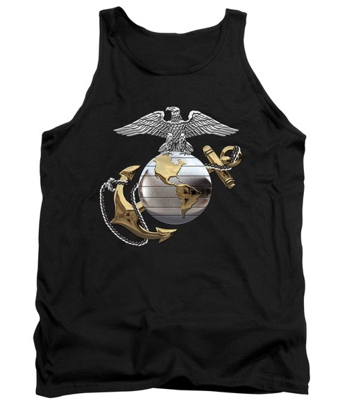 U S M C Eagle Globe And Anchor - C O And Warrant Officer E G A Over Black Velvet Tank Top