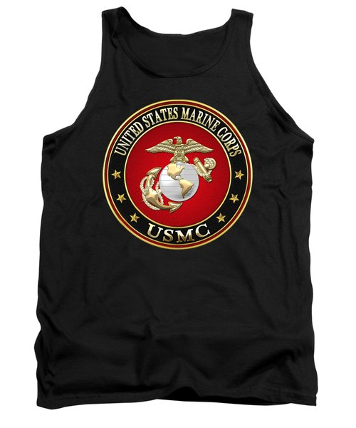 U S M C Eagle Globe And Anchor - E G A On Black Velvet Tank Top