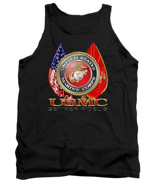 U. S. Marine Corps U S M C Emblem On Black Tank Top
