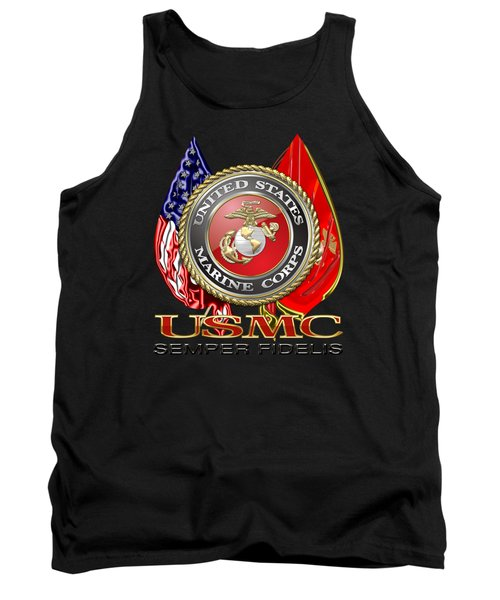 U. S. Marine Corps U S M C Emblem On Black Tank Top