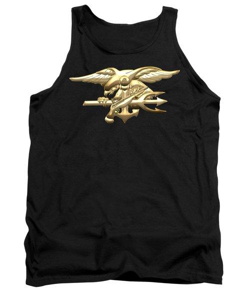 U. S. Navy S E A Ls Emblem On Black Velvet Tank Top