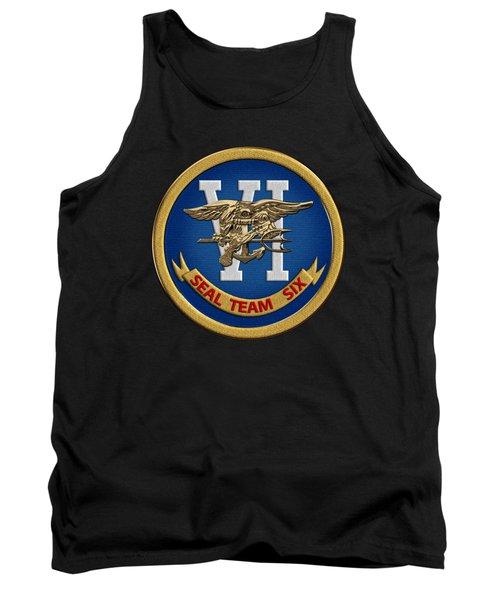 U. S. Navy S E A Ls - S E A L Team Six  -  S T 6  Patch Over Black Velvet Tank Top