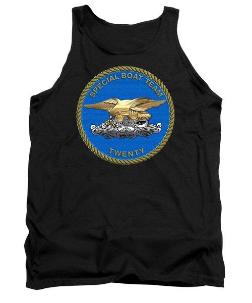 U. S. Navy S W C C - Special Boat Team 20   -  S B T 20   Patch Over Black Velvet Tank Top