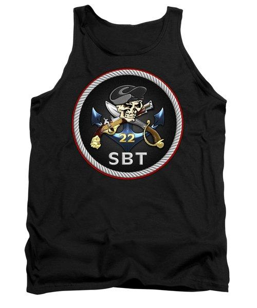 U. S. Navy S W C C - Special Boat Team 22  -  S B T 22  Patch Over Black Velvet Tank Top