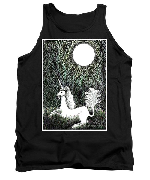 Tank Top featuring the drawing Unicorn In Moonlight by Lise Winne