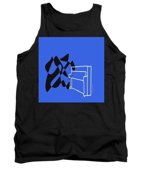 Tank Top featuring the digital art Upright Piano In Blue by Jazz DaBri