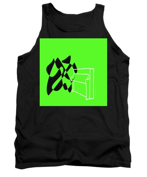 Tank Top featuring the digital art Upright Piano In Green by Jazz DaBri