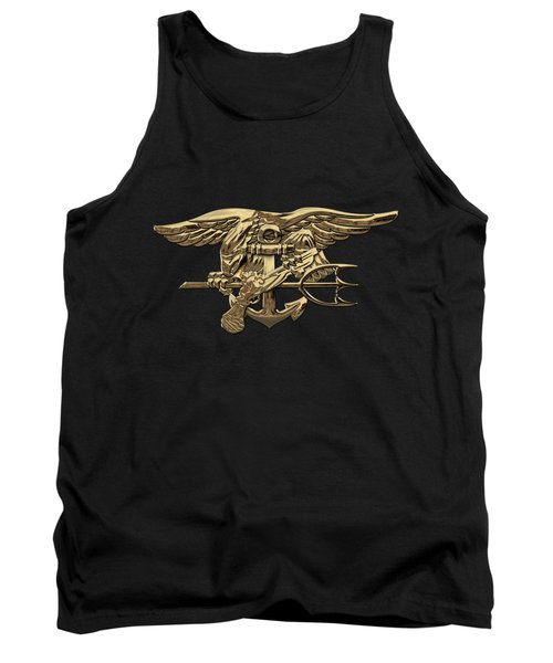 U.s. Navy Seals Trident Over Black Flag Tank Top