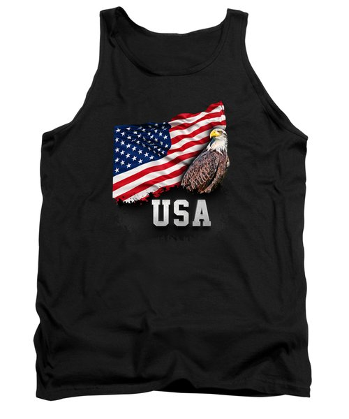 Usa Flag With Bald Eagle 4th Of July Tank Top by Carsten Reisinger