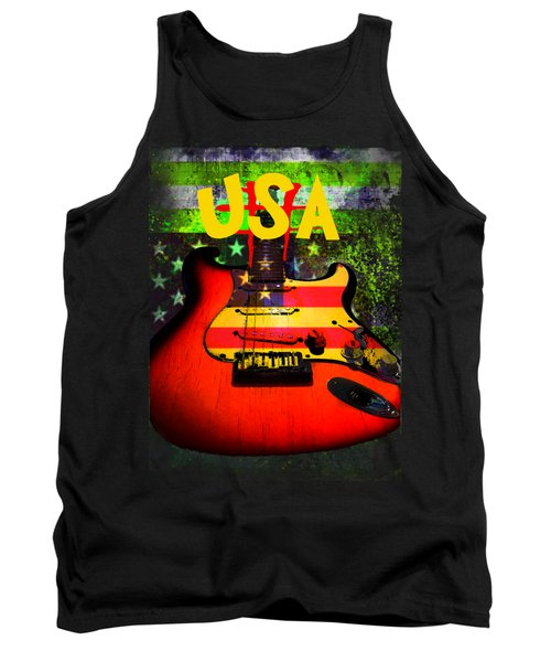 Usa Guitar Music Tank Top