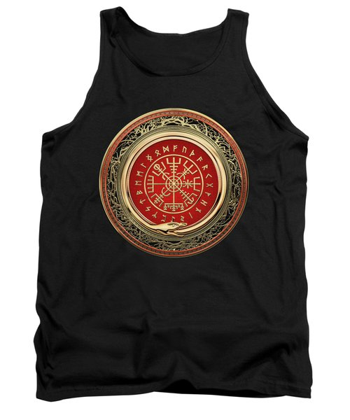 Vegvisir - A Gold Magic Viking Runic Compass On Black Leather Tank Top