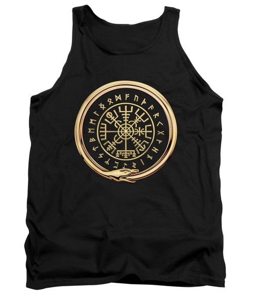 Vegvisir - A Magic Icelandic Viking Runic Compass - Gold On Black Tank Top
