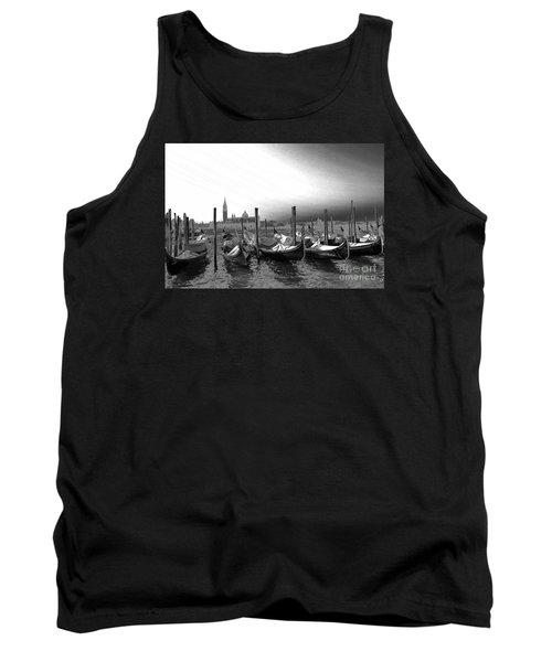Venice Gondolas Black And White Tank Top