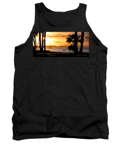 Tank Top featuring the photograph Ventura California Sunrise With Bible Verse by John A Rodriguez