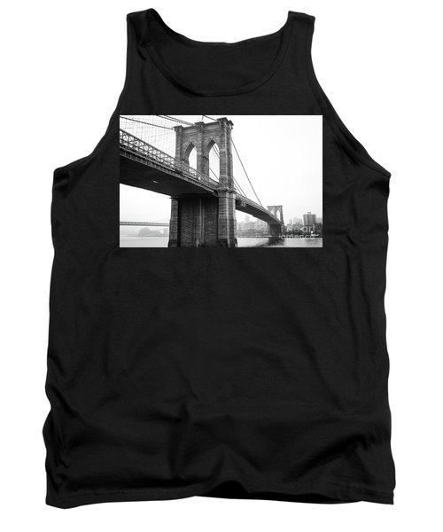 View Brooklyn Bridge With Foggy City In The Background Tank Top