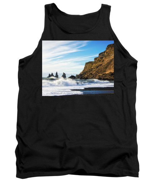 Tank Top featuring the photograph Vik Reynisdrangar Beach And Ocean Iceland by Matthias Hauser