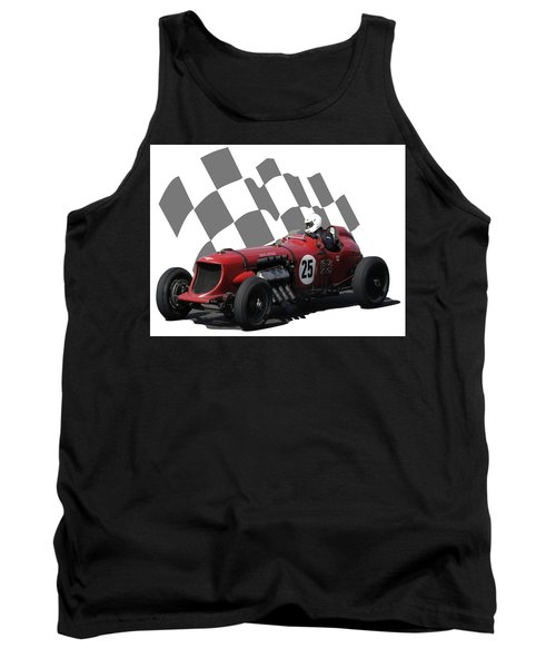 Vintage Racing Car And Flag 3 Tank Top by John Colley