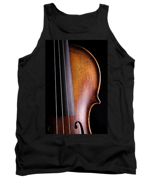 Violin Isolated On Black Tank Top