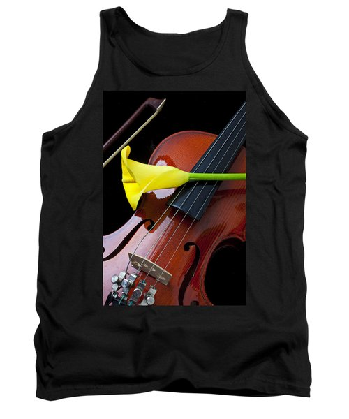 Violin With Yellow Calla Lily Tank Top