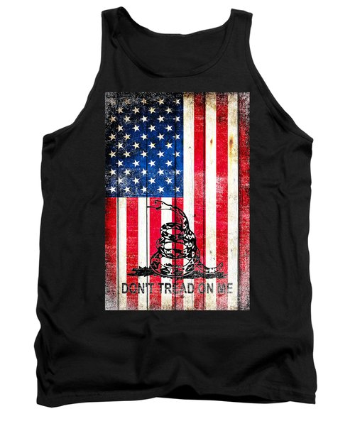 Viper On American Flag On Old Wood Planks Vertical Tank Top by M L C