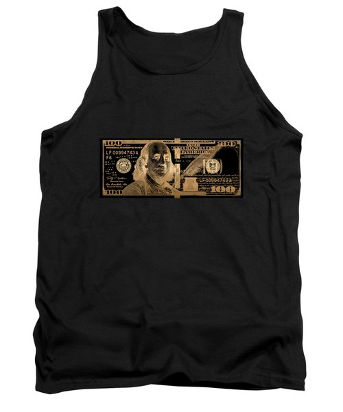 One Hundred Us Dollar Bill - $100 Usd In Gold On Black Tank Top