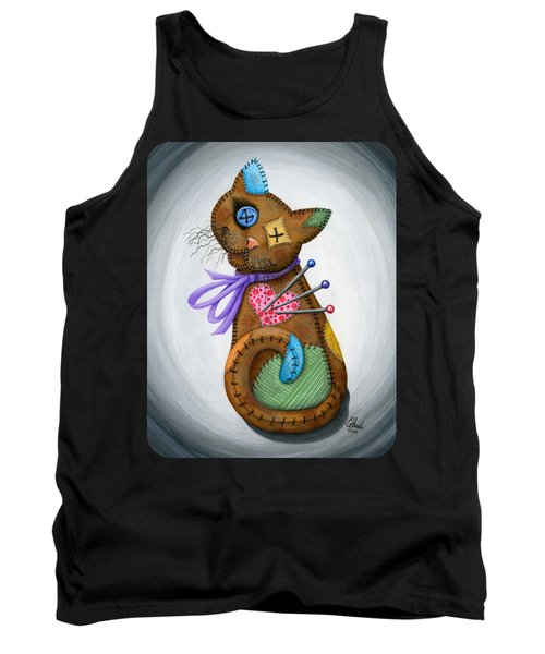 Tank Top featuring the painting Voodoo Cat Doll - Patchwork Cat by Carrie Hawks