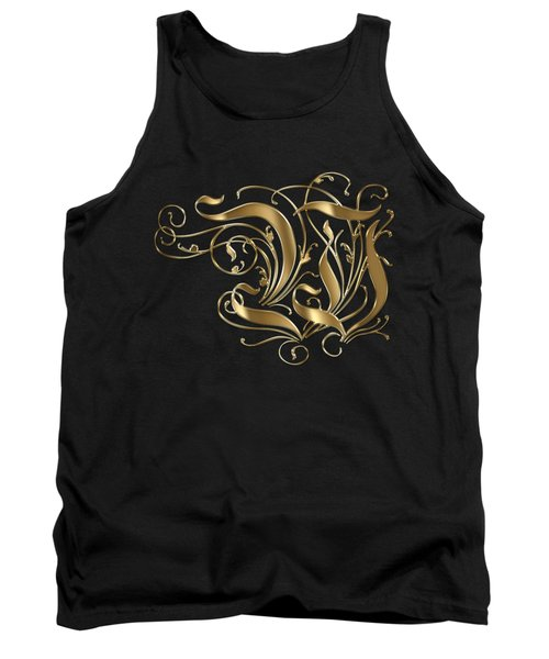 W Golden Ornamental Letter Typography Tank Top