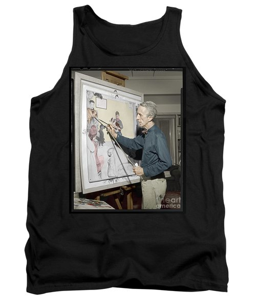 Tank Top featuring the photograph Waiting For The Vet Norman Rockwell by Martin Konopacki Restoration