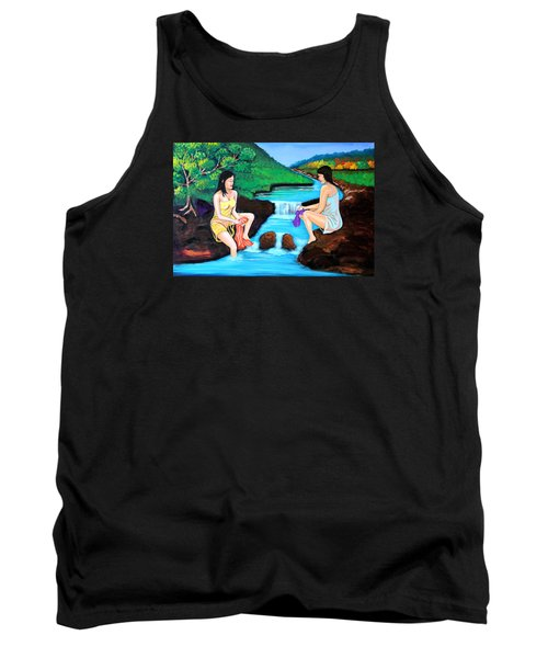Tank Top featuring the painting Washing In The River by Cyril Maza