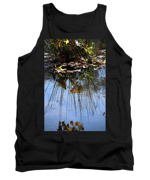 Water Reflection Of Plant Growing In A Stream Tank Top by Emanuel Tanjala