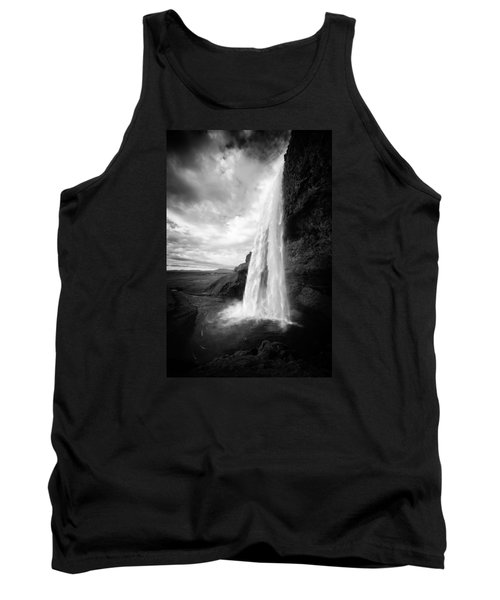 Tank Top featuring the photograph Waterfall In Iceland Black And White by Matthias Hauser