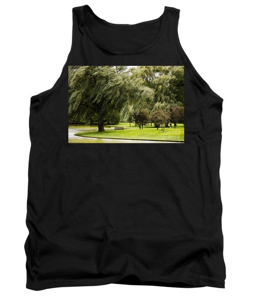Weeping Willow Trees On Windy Day Tank Top by Carol F Austin